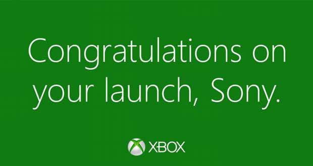 Xbox Felicitation pour le mlancement de la PlayStation 4