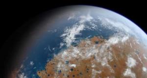 Planète Mars recouverte d'eau douce