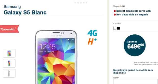 Galaxy S5 à 649,90 € Chez Bouygues Telecom
