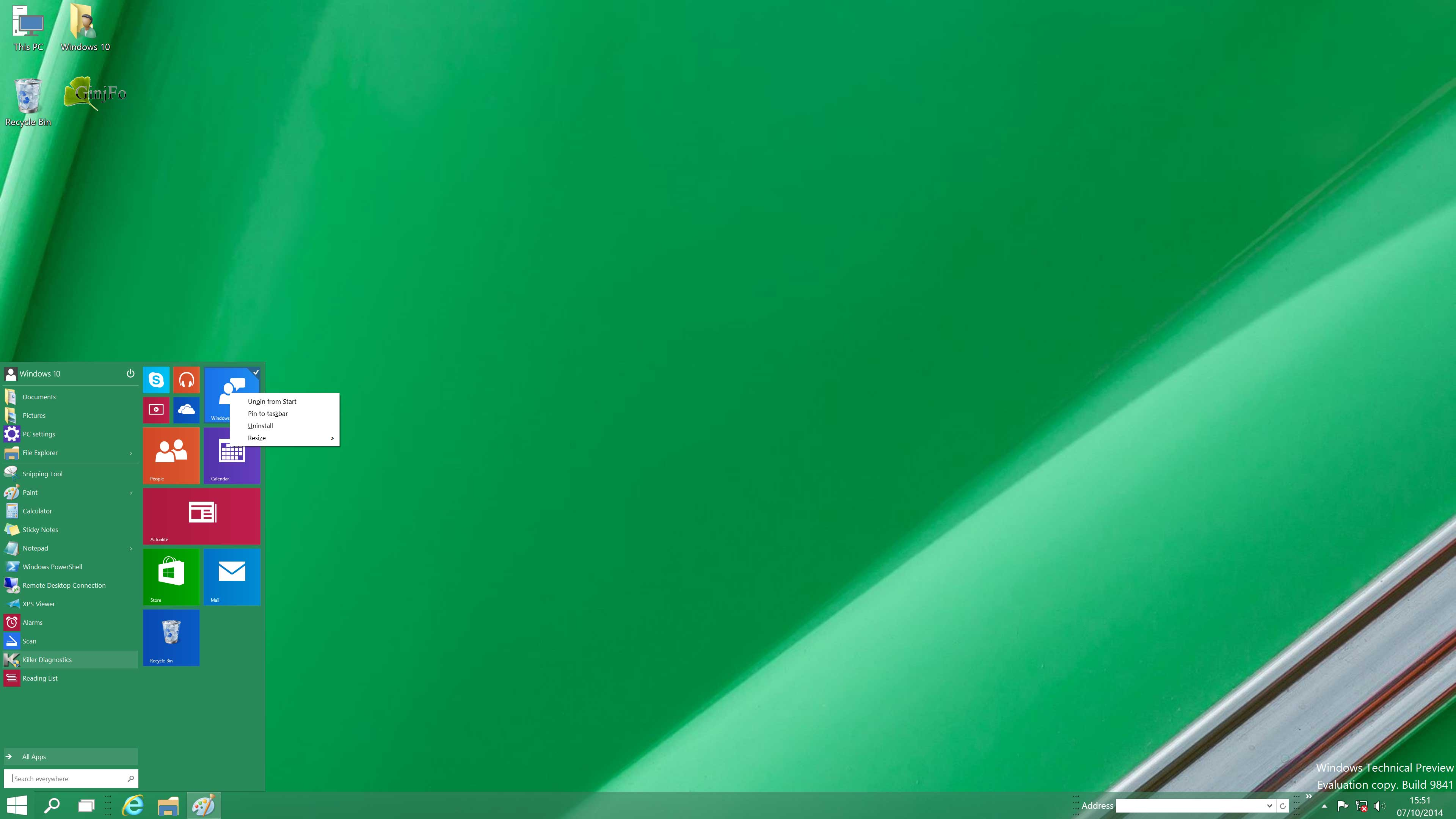 windows 10 preview menu d marrer ginjfo. Black Bedroom Furniture Sets. Home Design Ideas