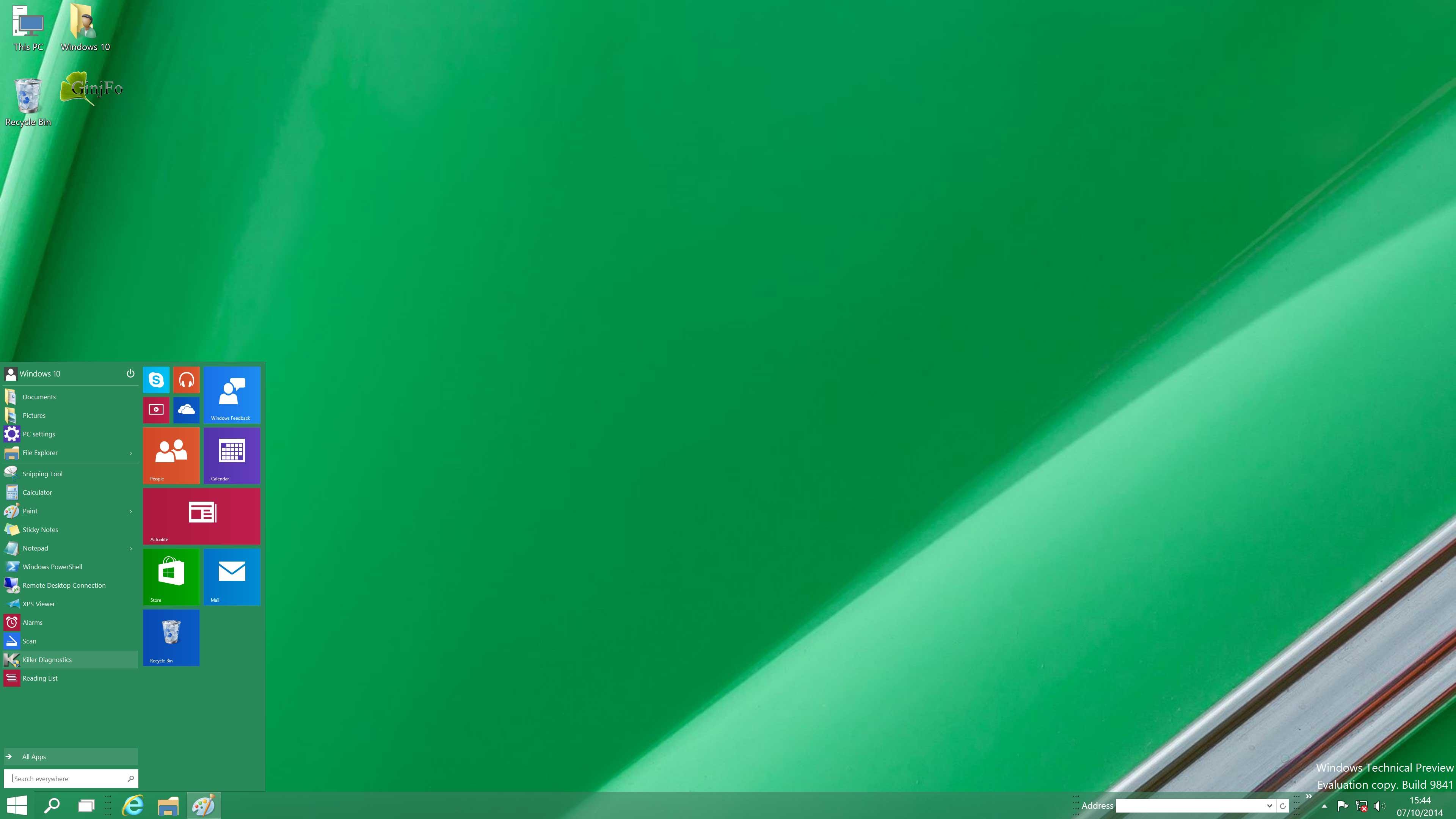 Windows 10 preview menu d marrer ginjfo for Bureau windows 10