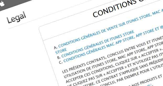 App Store CONDITIONS GÉNÉRALES