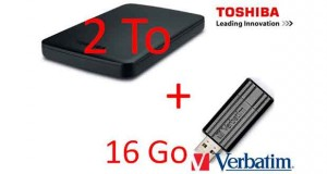 "bundle Disque Dur 2.5"" USB3 2To Toshiba Canvio + 1 clé verbatim 16Go"