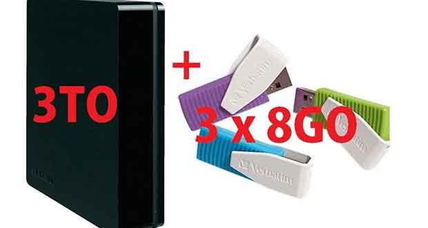 Bundle Disque dur externe 3To Toshiba StorE Canvio 3.5 pouces + 3 clés USB 8 Go Verbatim
