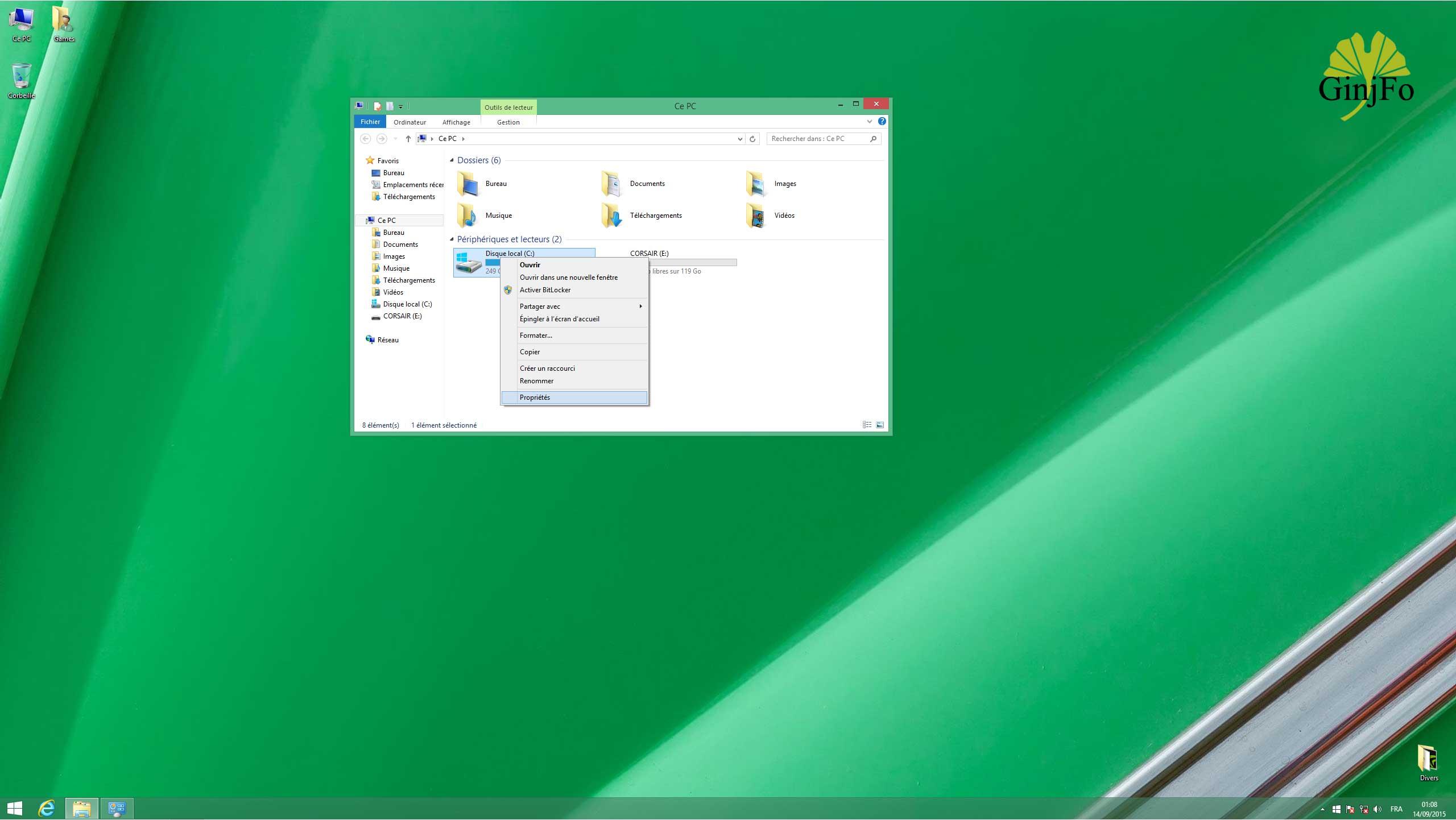 installateur windows 8 avec un cdt