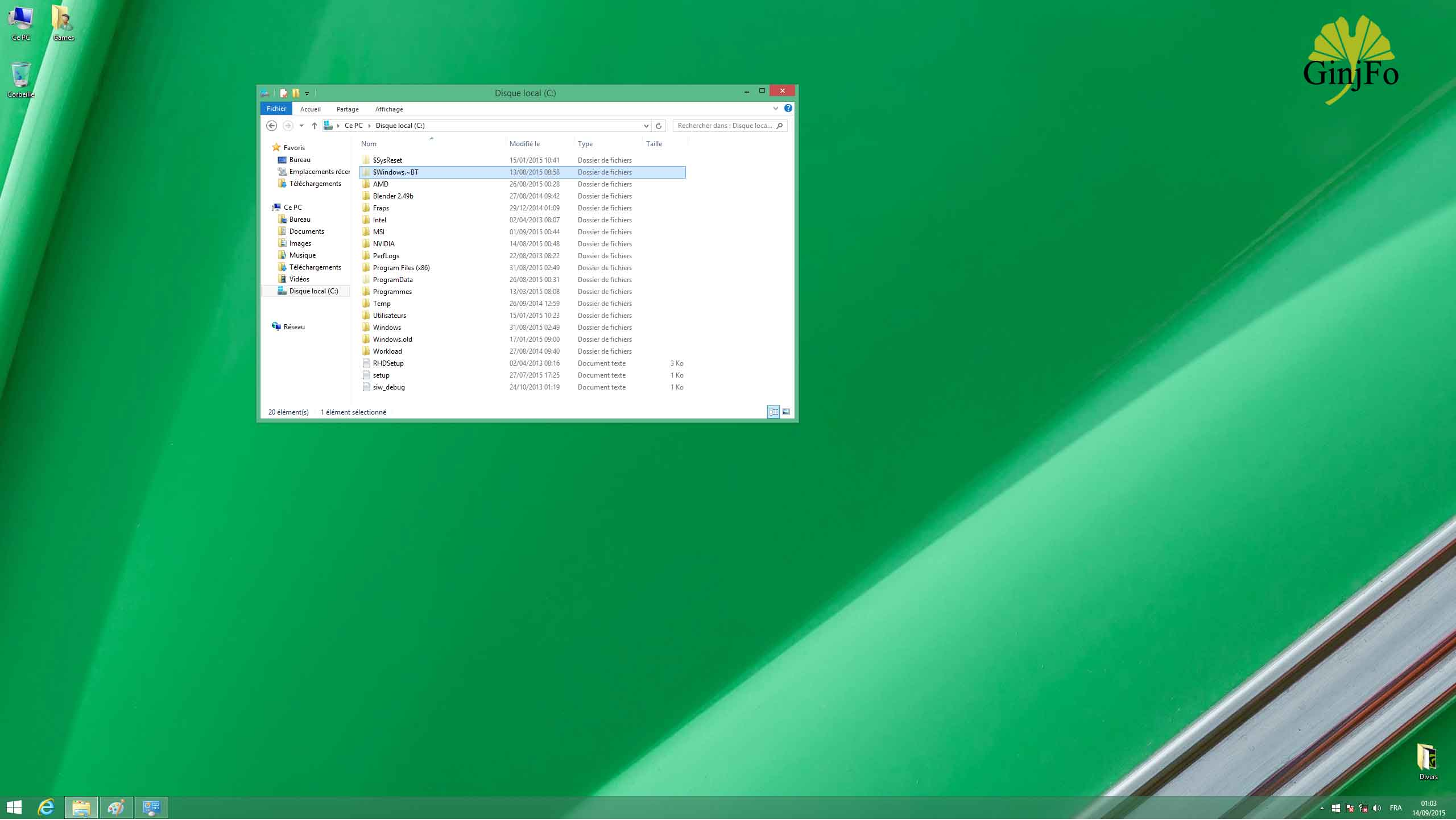 l'espace nécessaire pour l'installation de Windows 7