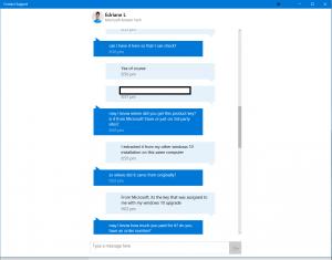 Conversation avec un technicien du support technique de chez Microsoft