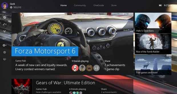 Xbox One, nouvelle interface sous Windows 10