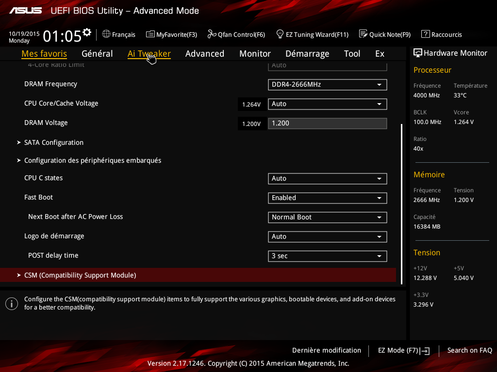 Carte mère Z170I Pro Gaming d'Asus - BIOS