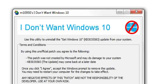 "Application ""I Don't Want Windows 10"""