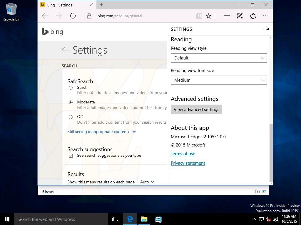 Windows 10 build 10551 - Capture d'écran
