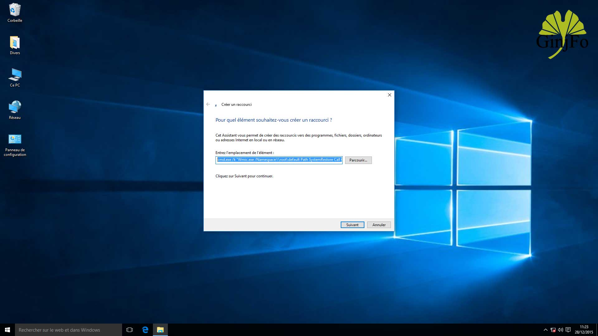 Windows 10 comment cr er instantan ment un point de for Windows 7 bureau vide