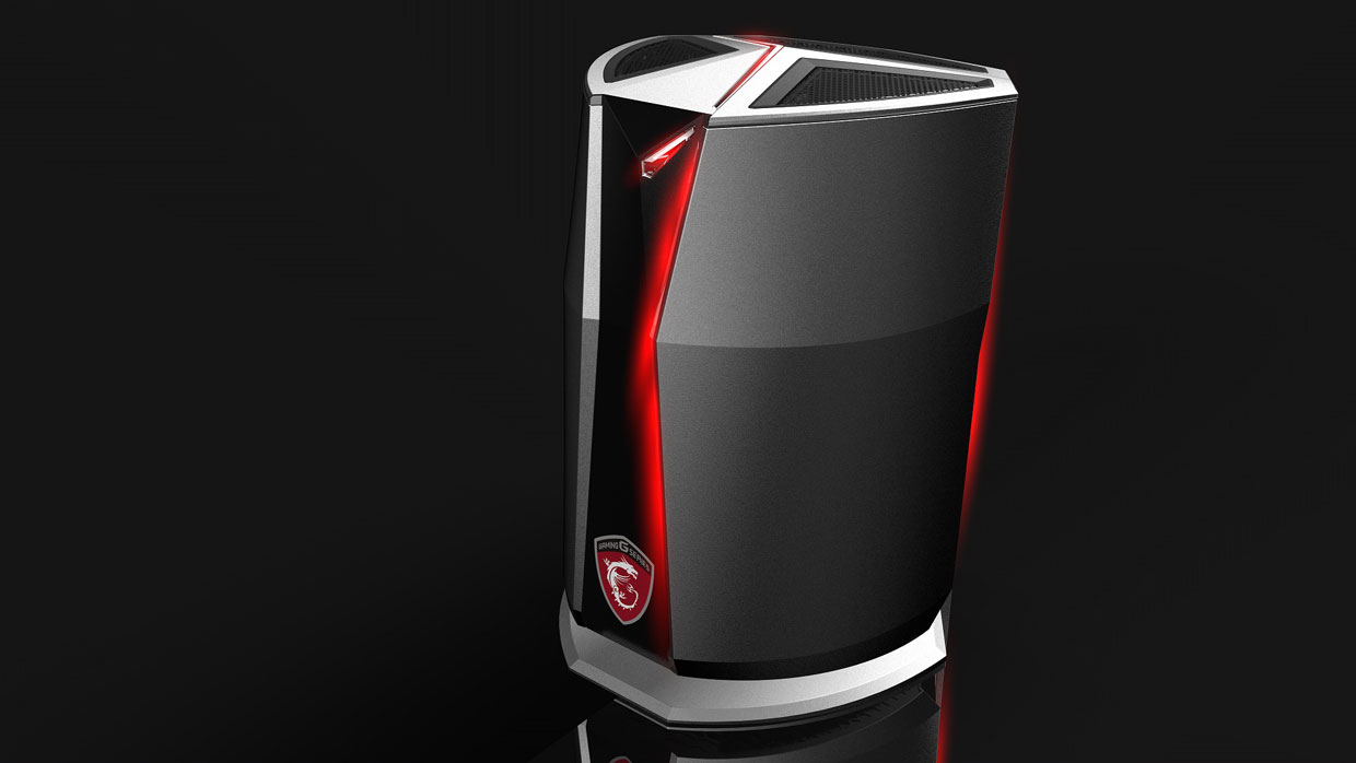 vortex msi pr sente son pc gaming compact et cylindrique. Black Bedroom Furniture Sets. Home Design Ideas