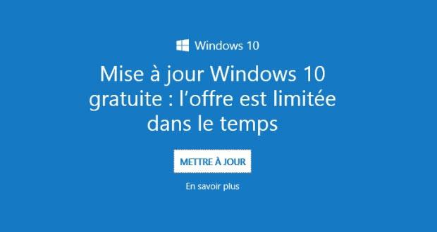 Windows 10 - Message publicitaire autour de l'offre gratuite de mise à niveau