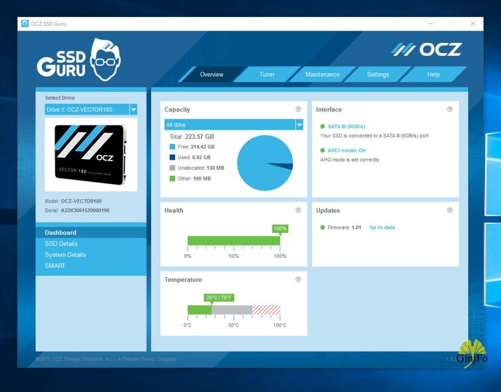 SSD OCZ Vector 180 240 Go - Application SSD Guru