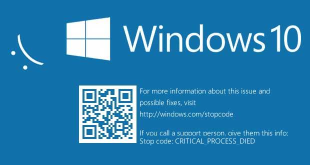 Windows 10 et l'écran bleu de la mort, après le smiley, le QR code