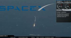 paceX , atterrissage du premier étage de la fusée Falcon 9 sur une barge en pleine mer