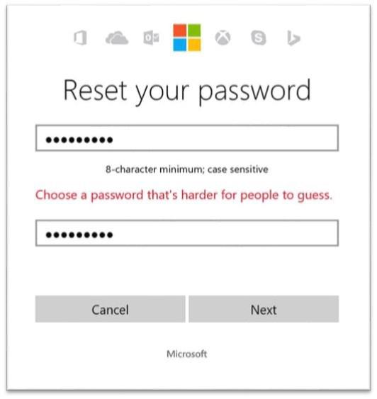 Microsoft interdit les mots de passe trop simples