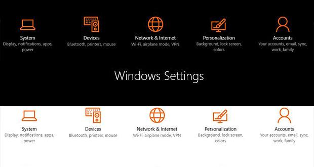 Windows Settings - Light et Dark Mode