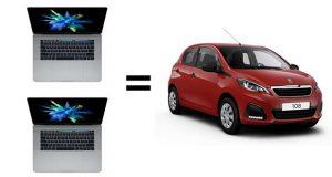 Le prix de deux Macbook Pro 15 pouce haut de gamme d'Apple vaut celui d'une Peugeot 108 5 portes de base.