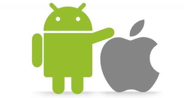 Systèmes d'exploitation Android de Google et iOS d'Apple