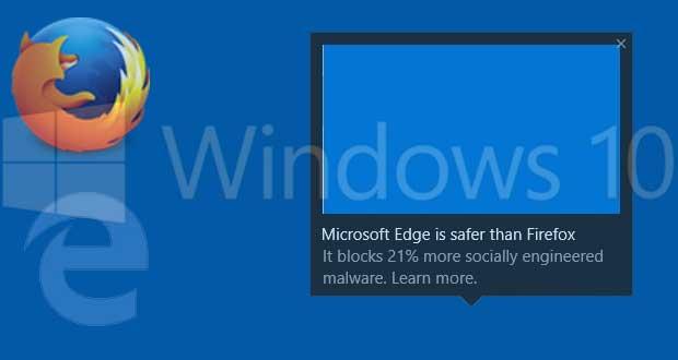Windows 10, des notifications vantent les mérites du navigateur Edge