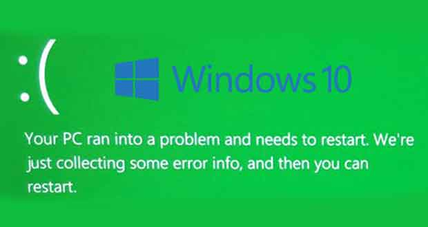 Windows 10 Preview, Microsoft introduit l'écran vert de la mort alias le GSOD.