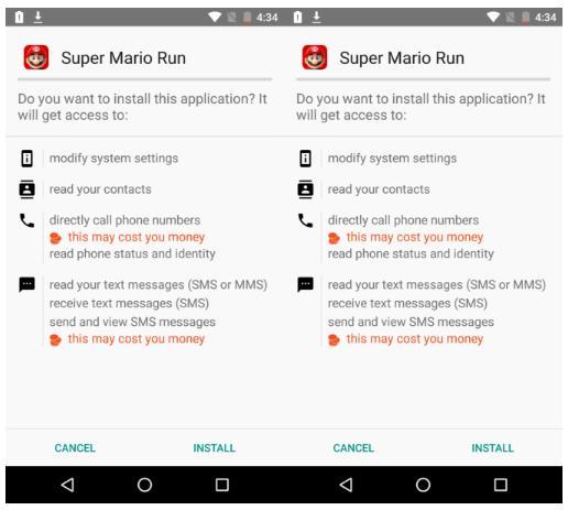 Super Mario Run pour Android - fausse version infectée par un malware
