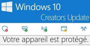 Le centre de sécurité de Windows 10 Creators Update