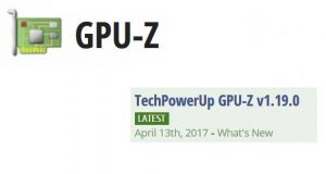 Utilitaire GPU-Z v1.19