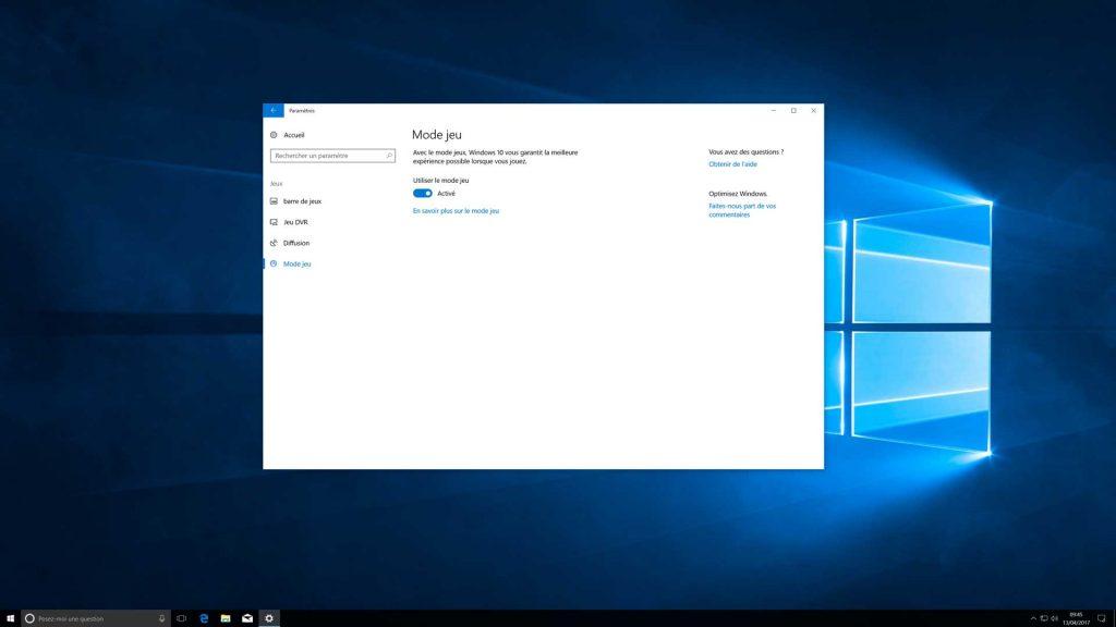 Windows 10 Creators Update - La section jeu dans les Paramètres