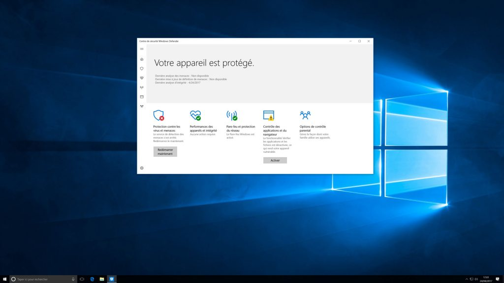 Le centre de sécurité de Windows 10 Creators Update