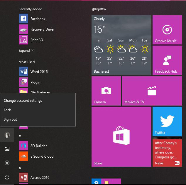 Windows 10 build 16215 - Menu Démarrer - Photo Credits : Bogdan Popa