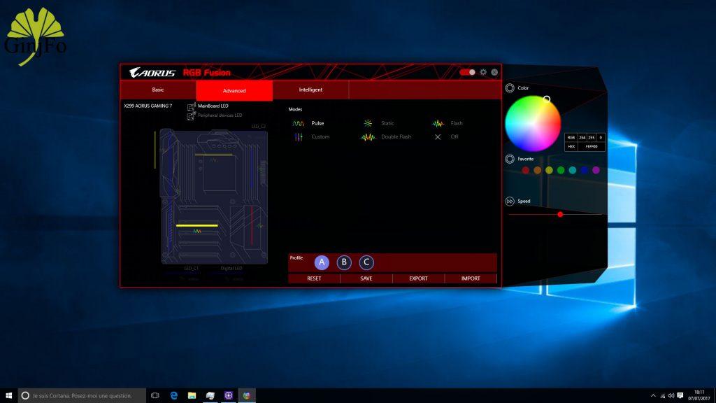 Carte mère X299 Aorus Gaming 7 - RGB Fusion