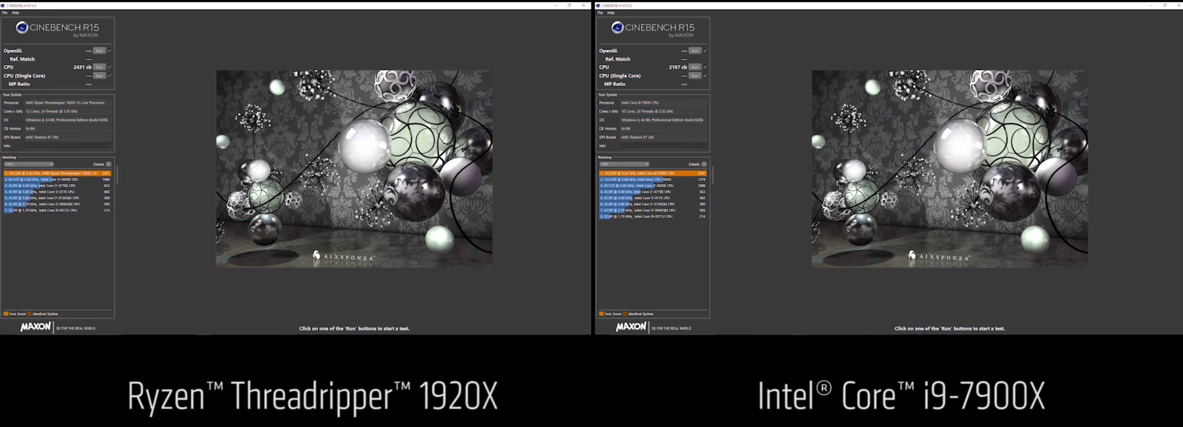 Processeur AMD Ryzen Threadripper 1920X en action sous Cinebench R15