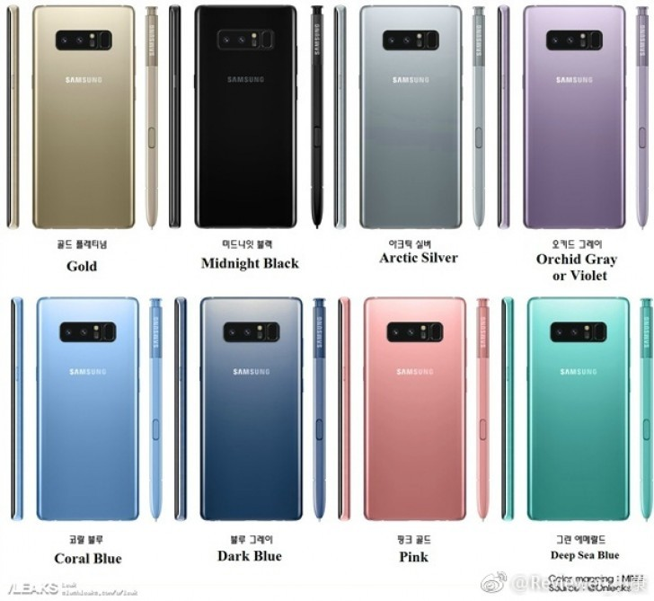 Galaxy Note 8 - les différents coloris