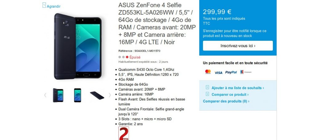 ZenFone 4 Selfie du constructeur Asus