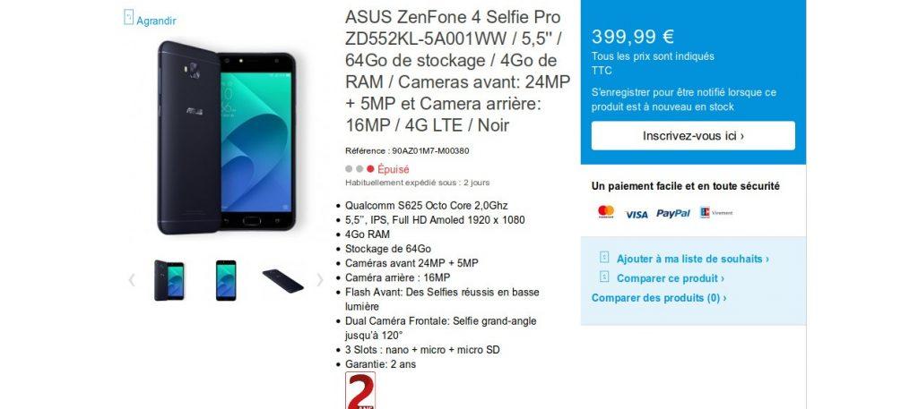 ZenFone 4 Selfie Pro du constructeur Asus