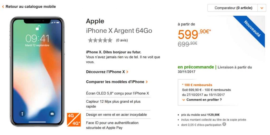 iPhone X chez Orange et Sosh