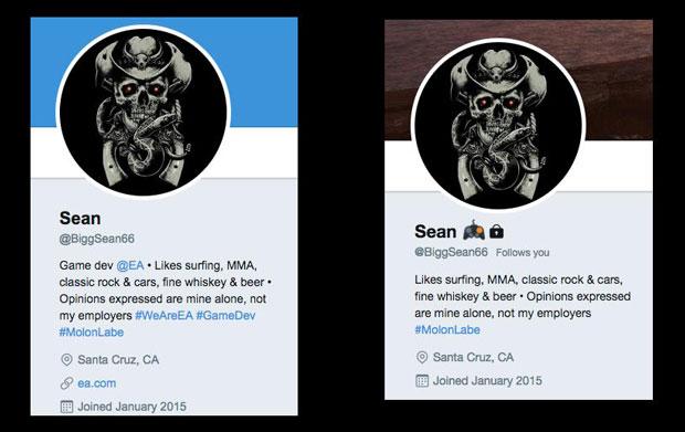 Profile du compte Twitter de BiggSean66 le 13 puis le 15 novembre 2017