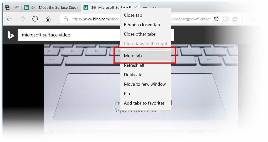 Microsoft Edge - fonction Mute