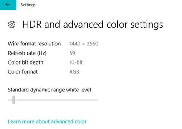 Windows 10 build 17040 – Section HDR and advanced color settings