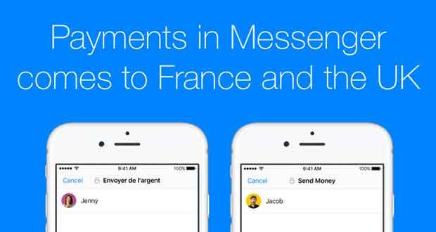 Messenger de Facebook - le transfert d'argent