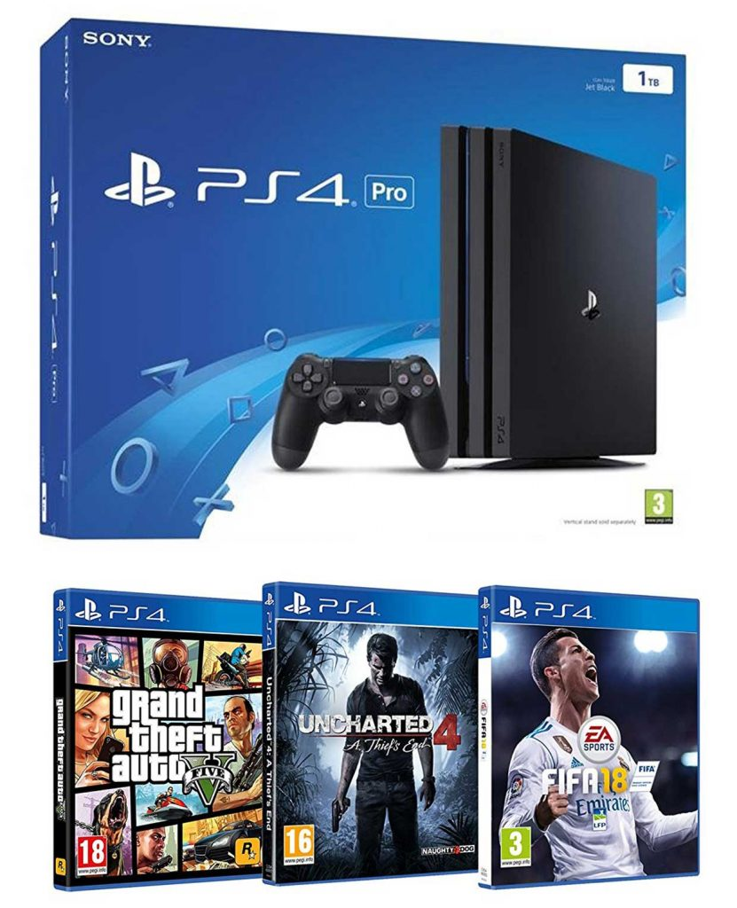 Pack PS4 Pro + FIFA 18 + GTA V + Uncharted 4
