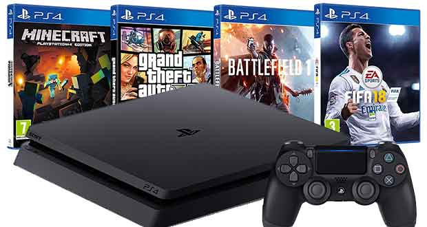Pack PS4 + FIFA 18 + GTA V + Minecraft + Battlefield 1