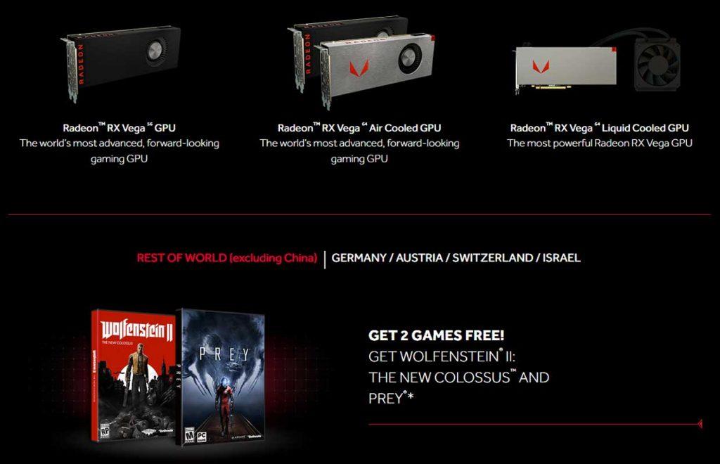 Achat d'une Radeon RX Vega, AMD offre deux jeux video
