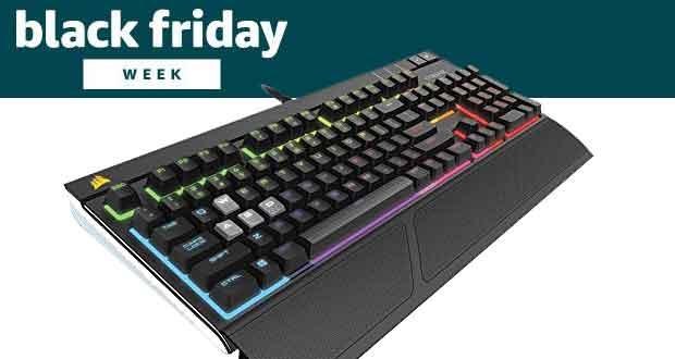 Corsair STRAFE RGB Clavier Mécanique Gaming (Cherry MX Silent, Rétro-Éclairage RGB Multicolore, AZERTY) Noir