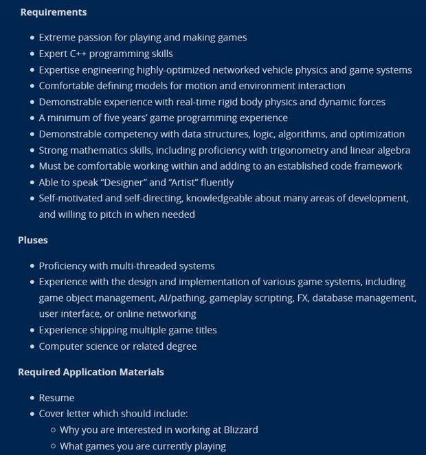 Offre d'emploi de Blizzard, les détails