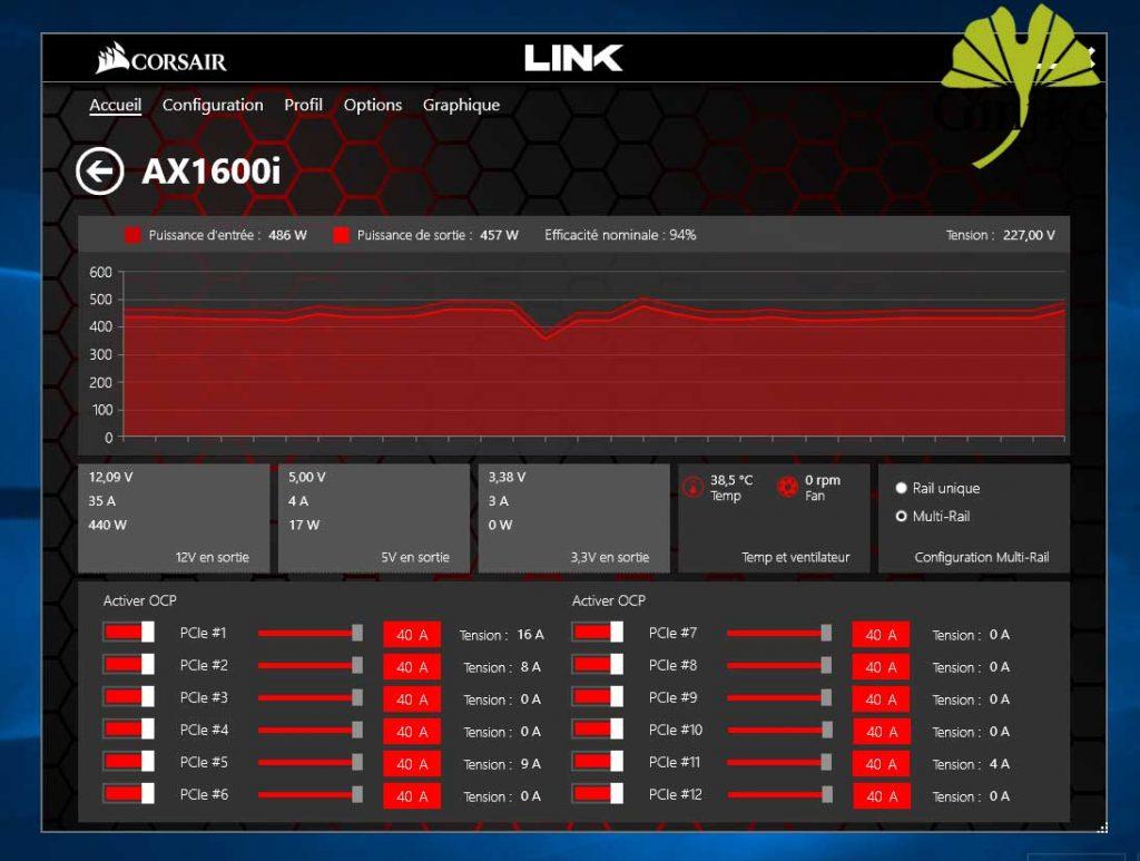 Alimentation AX1600i de Corsair - Corsair Link