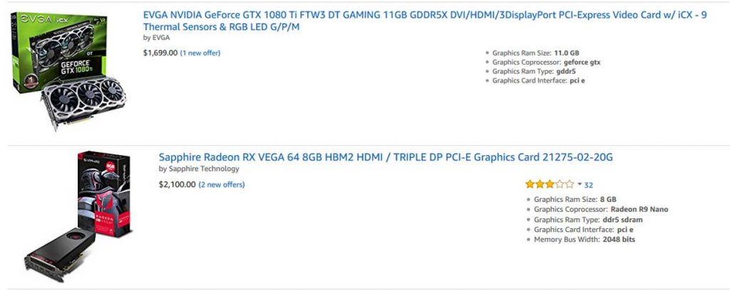 GeForce GTX 1080 Ti et Radeon Vega 64, les tarifs deviennent fous